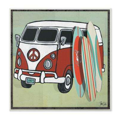 "12 in. x 12 in. ""Peace Van Surfing"" by Shanni Welsh Printed Wood Wall Art"