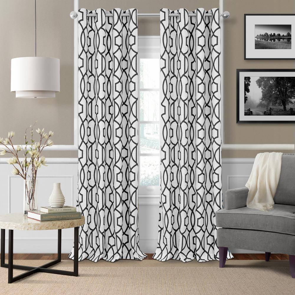 Celeste 52 in. W x 84 in. L Polyester Single Blackout Window Curtain Panel in Black