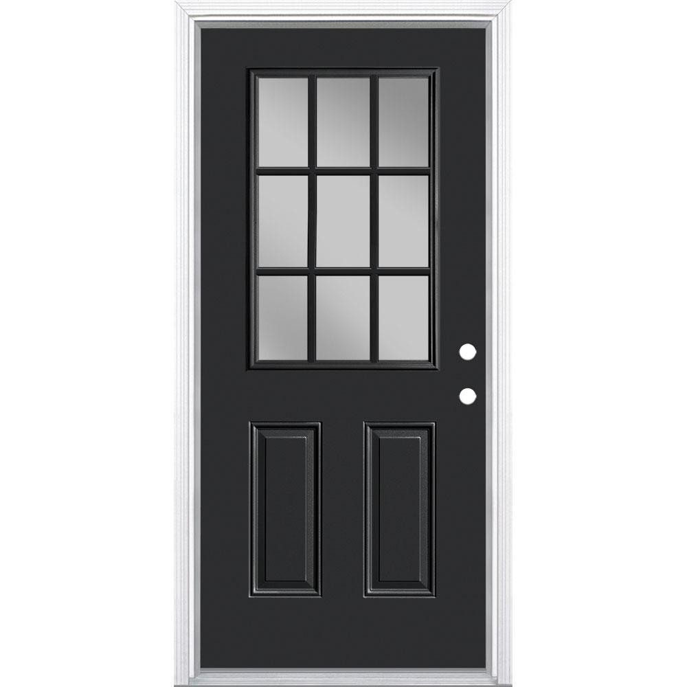 Masonite 36 in. x 80 in. 9-Lite Left Hand Inswing Jet Black Painted Steel Prehung Front Exterior Door with Brickmold