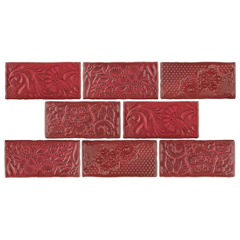 Merola Tile Antic Feelings Red Moon 3 In X 6 In Ceramic