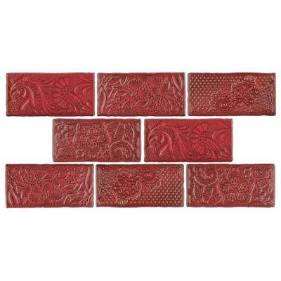 Antic Feelings Red Moon 3 in. x 6 in. Ceramic Wall Tile (1 sq. ft. / pack)