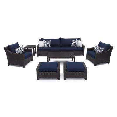 Deco 8-Piece All-Weather Wicker Patio Sofa and Club Chair Deep Seating Set with Sunbrella Navy Blue Cushions
