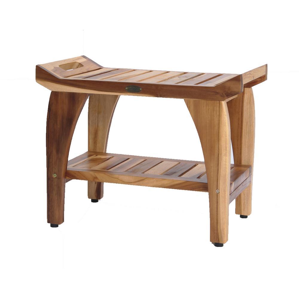 EarthyTeak Tranquility 24 in. Teak Shower Bench with Shelf