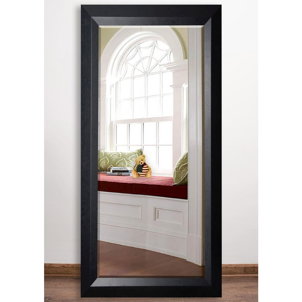 martha stewart living champlain 66 in x 32 in black coffee framed leaner mirror 71906 the. Black Bedroom Furniture Sets. Home Design Ideas