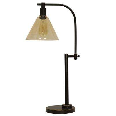 29 in. Madison Bronze Table Lamp with Clear Glass Shade