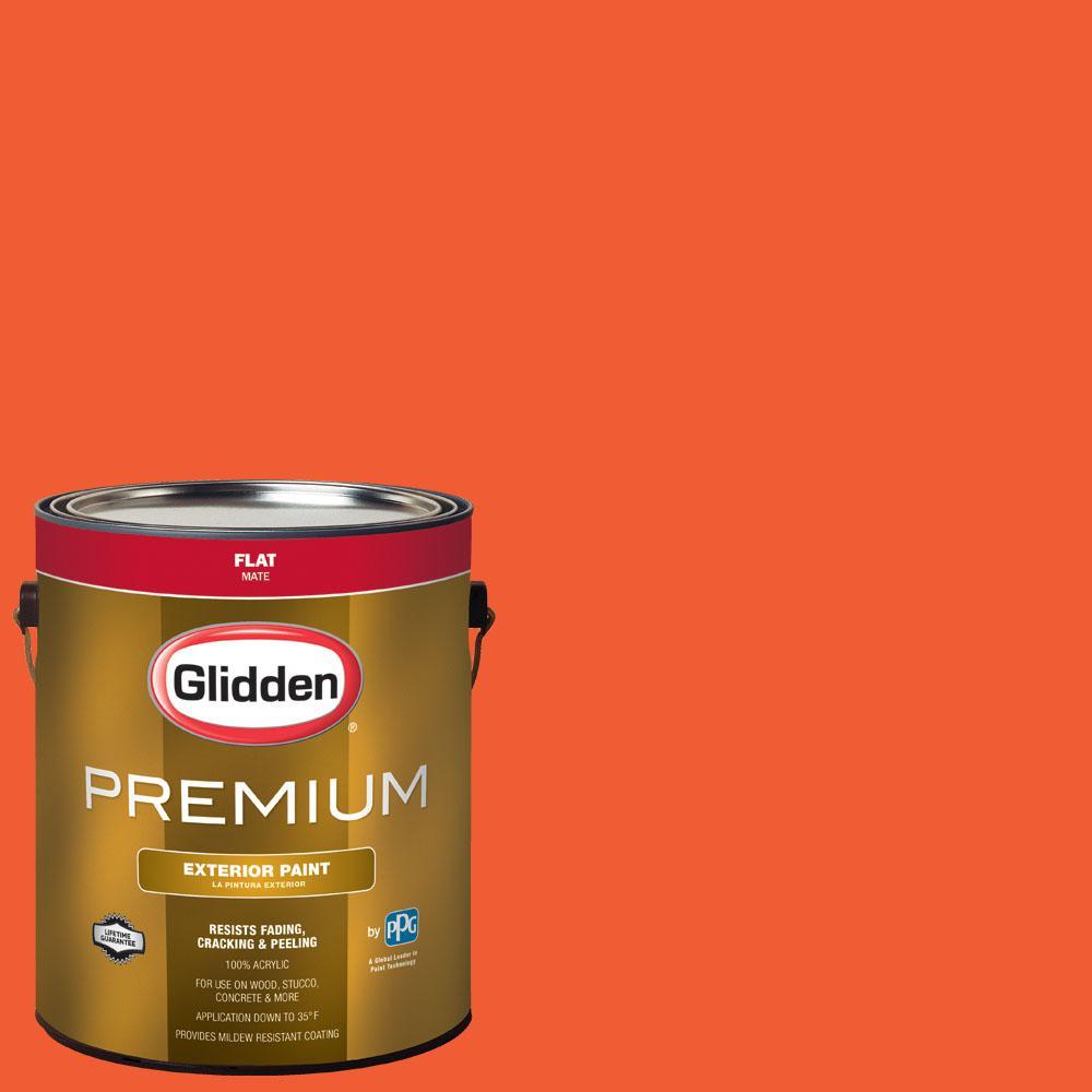 Glidden Premium 1 gal. #BB-099B Baltimore Orioles Orange Flat Exterior Paint, Oranges/Peaches