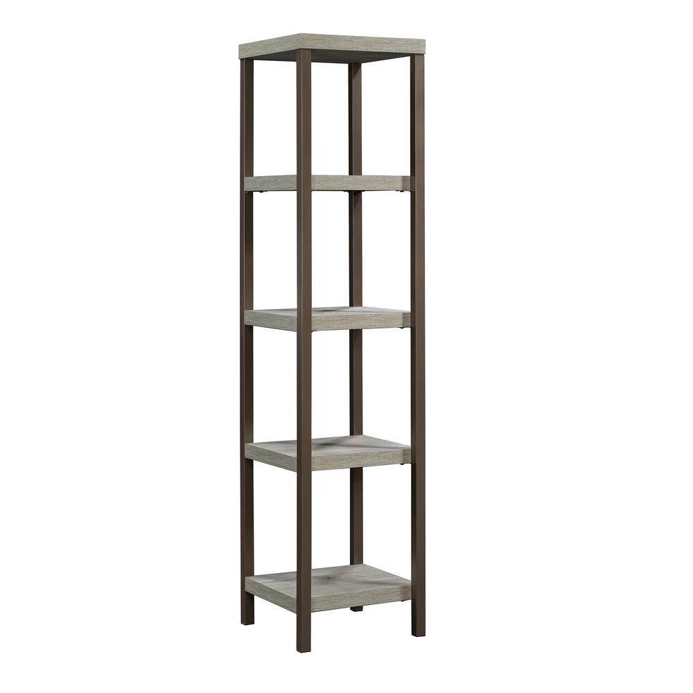 66.26 in. Mystic Oak Metal 4-shelf Etagere Bookcase with Open Back