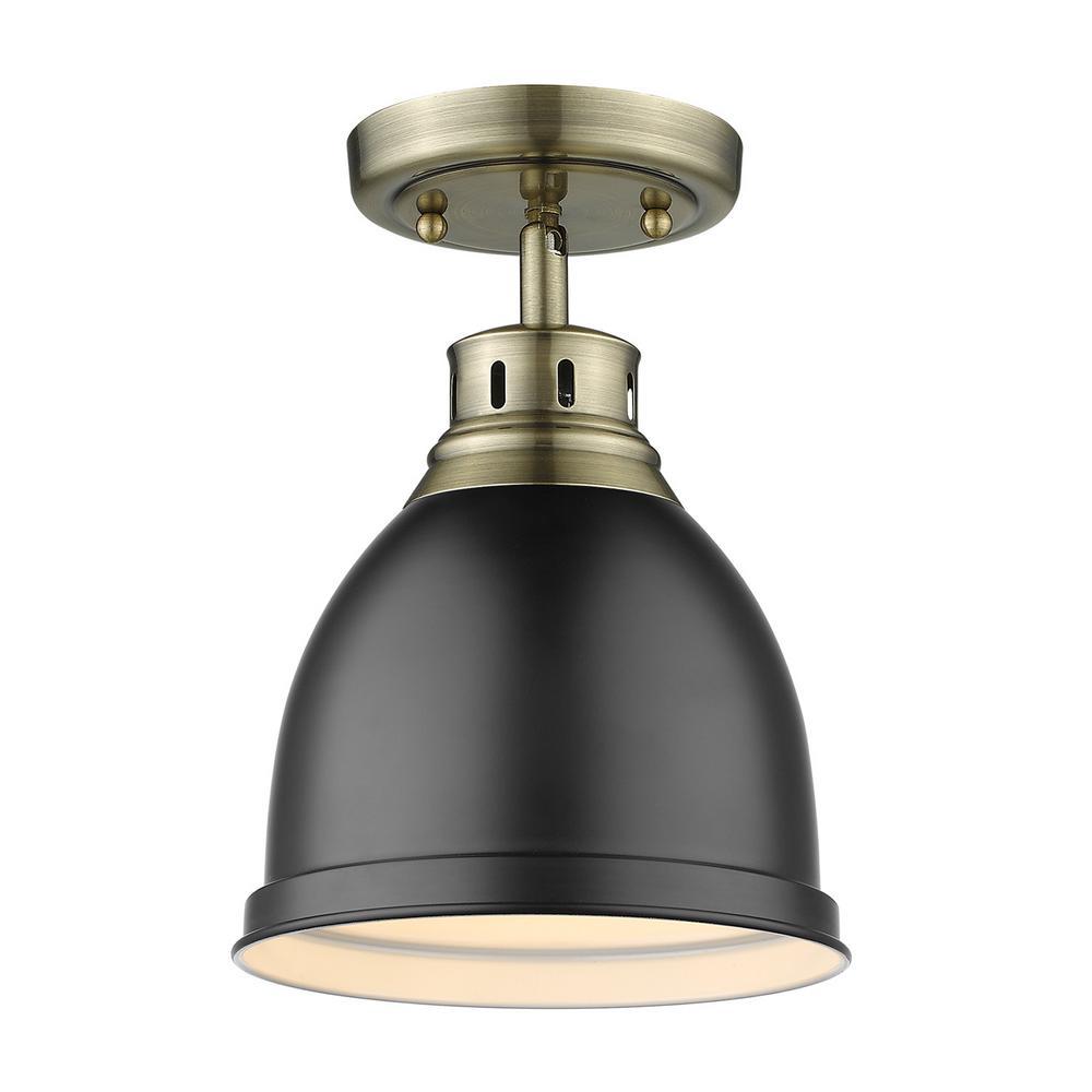 Golden Lighting 3602-FM BLK One Light Flush Mount Black