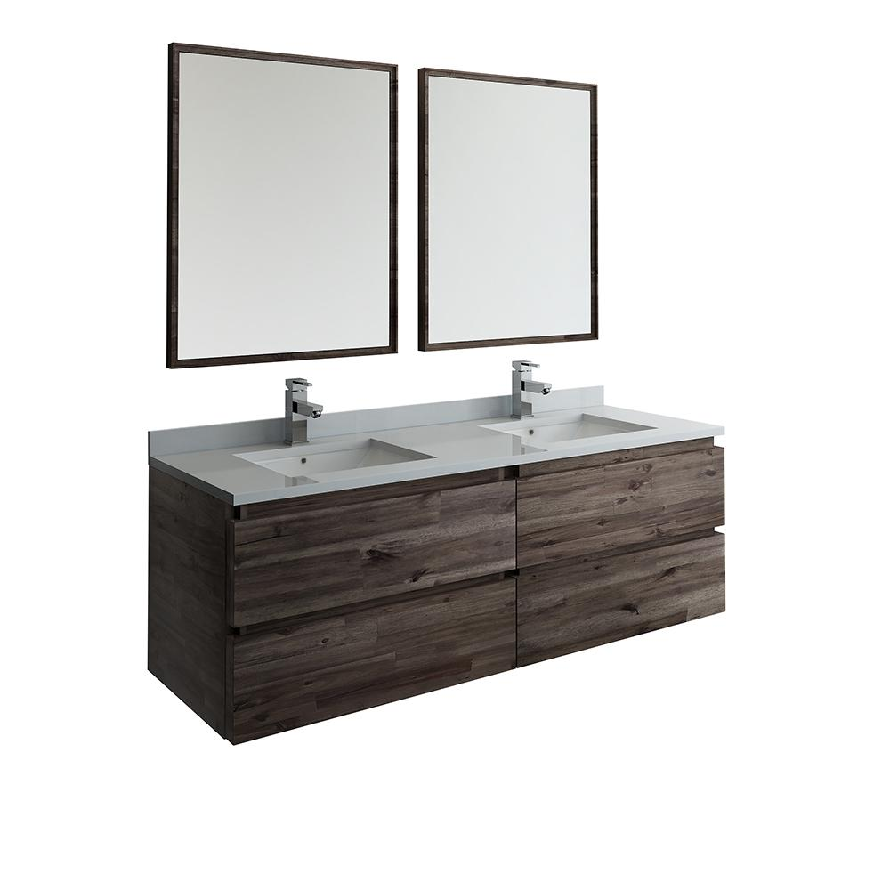 60 in. Modern Double Wall Hung Vanity in Warm Gray with