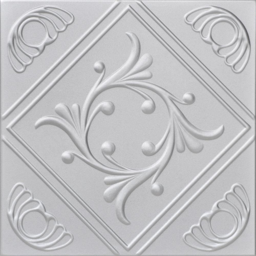 Diamond Wreath 1.6 ft. x 1.6 ft. Foam Glue-up Ceiling Tile in Silver