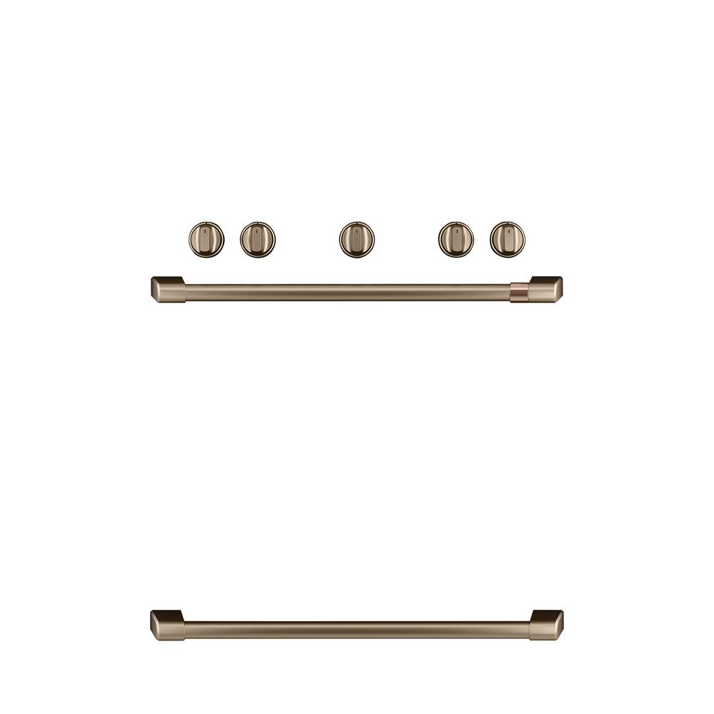 Cafe Freestanding Gas Range Handle and Knob Kit in Brushed Bronze