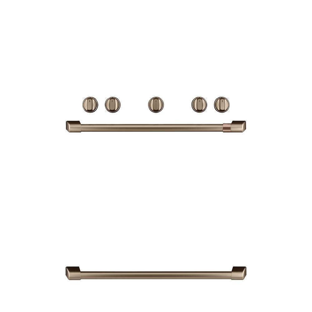 Freestanding Gas Range Handle and Knob Kit in Brushed Bronze