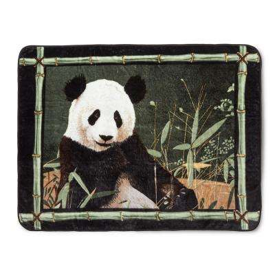 80 in. x 60 in. High Pile Panda with Bamboo Border Raschel Knit Throw