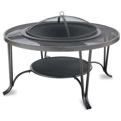 35 in. Fire Pit in Black with Mesh Mantel