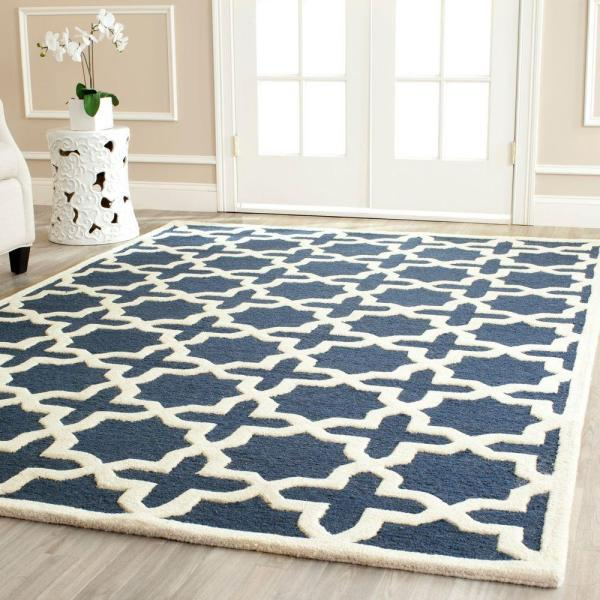 Reviews For Safavieh Cambridge Navy Blue Ivory 6 Ft X 9 Ft Area Rug Cam125g 6 The Home Depot
