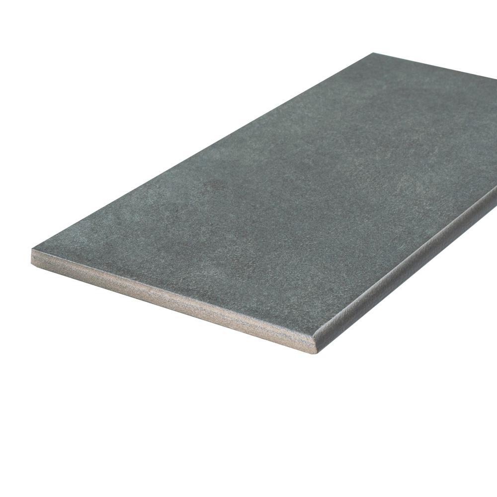 Twenties Black 3-1/2 in. x 7-3/4 in. Ceramic Bullnose Floor and Wall Trim Tile