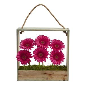 Nearly Natural Gerber Daisy Garden Artificial Arrangement in Hanging Wood Frame by Nearly Natural