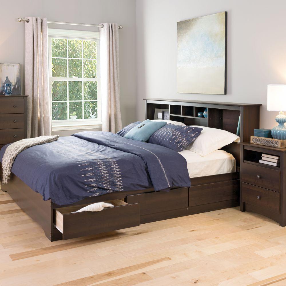 prepac fremont king wood storage bed ebk 8400 k the home. Black Bedroom Furniture Sets. Home Design Ideas