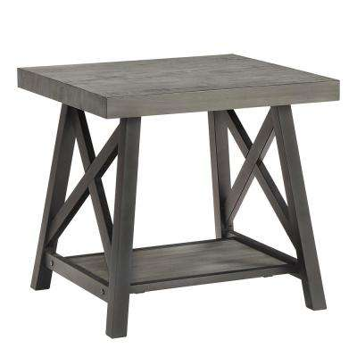 Grey End Table With Shelf