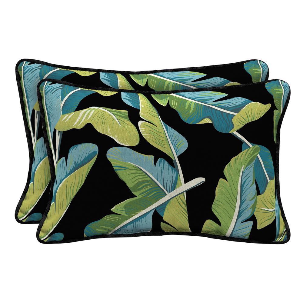 Banana Leaf Tropical Lumbar Outdoor Throw Pillow (2-Pack)