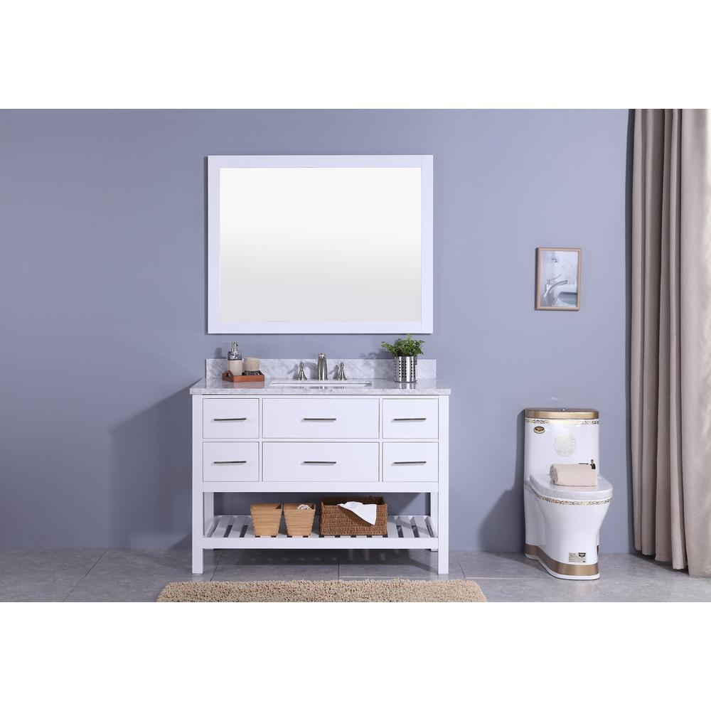 49 in. W x 22 in. D Vanity in White with
