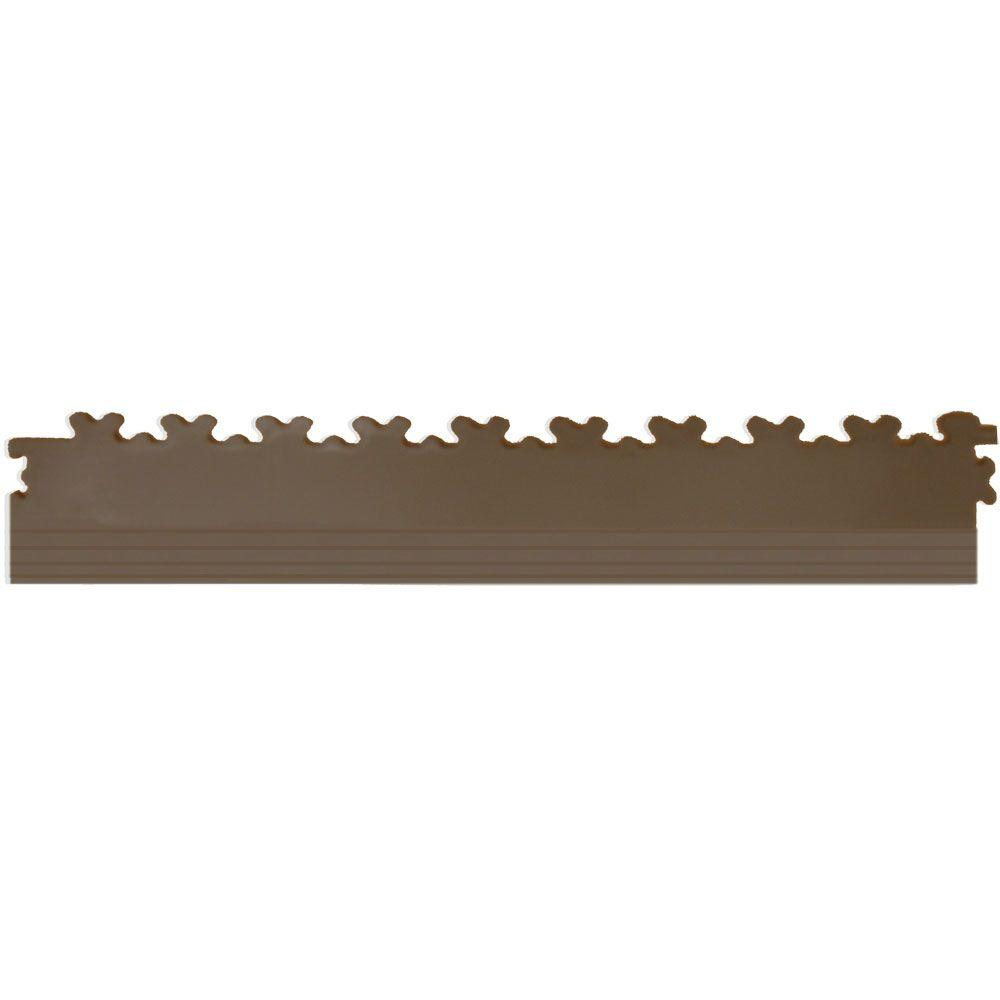 IT-tile 20-1/2 in. x 2-1/2 in. Diamond Plate Tan PVC Tapered Interlocking Multi-Purpose Flooring Tile Edges (4-Pack)