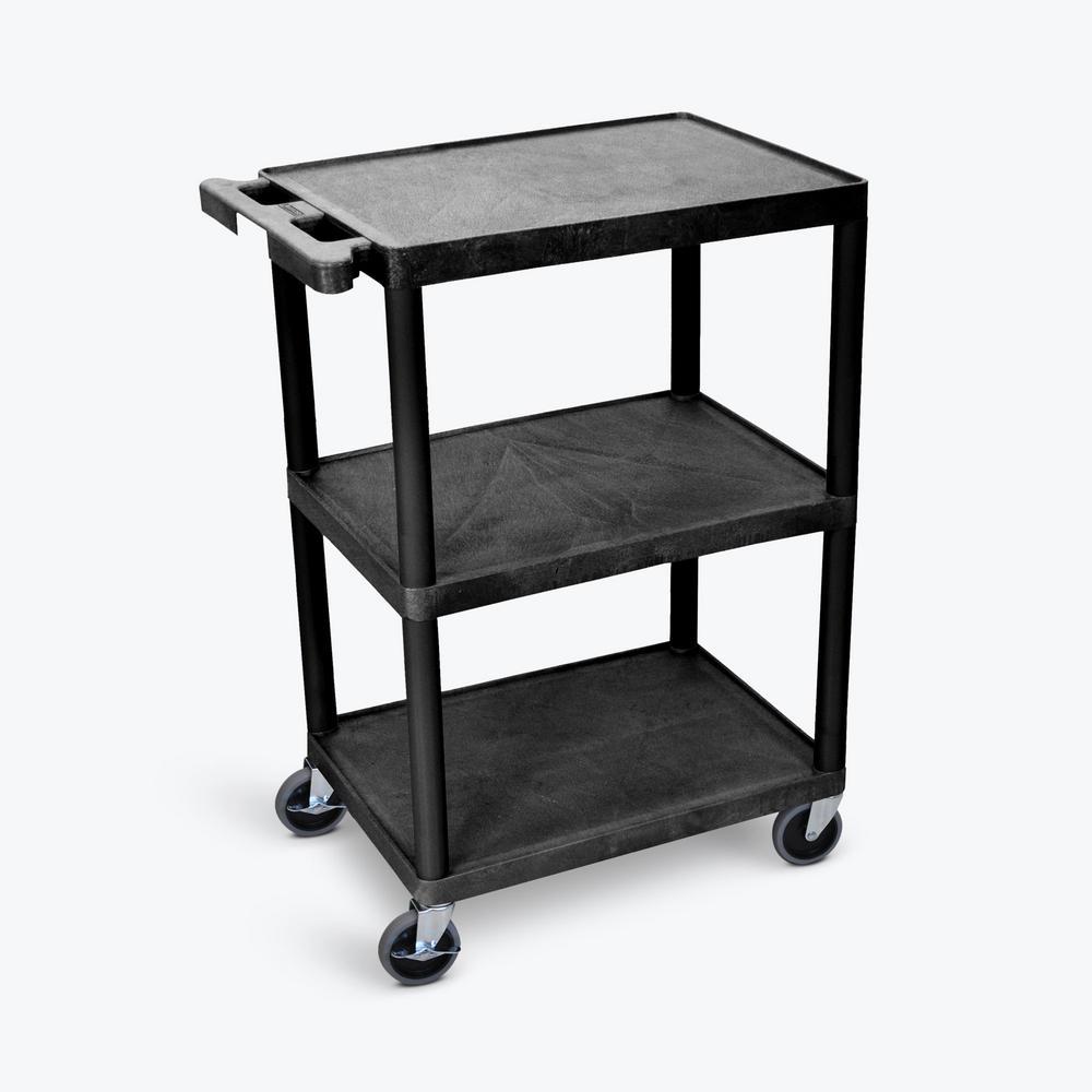 HE 24 in. W x 18 in. D x 34 in. H, 3-Shelf Utility Cart in Black
