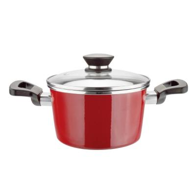 Coral 6 qt. Round Porcelain-Coated Steel Nonstick Casserole Dish in Red with Glass Lid