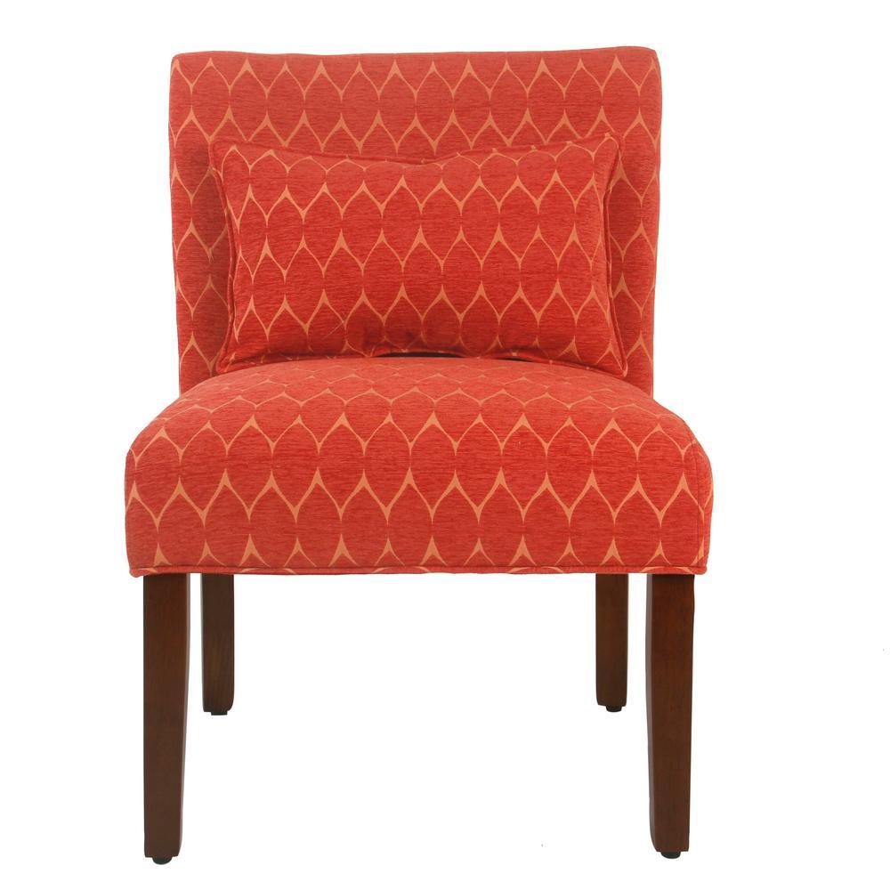 Modern Geo Textured Melon Parker Accent Chair with Pillow