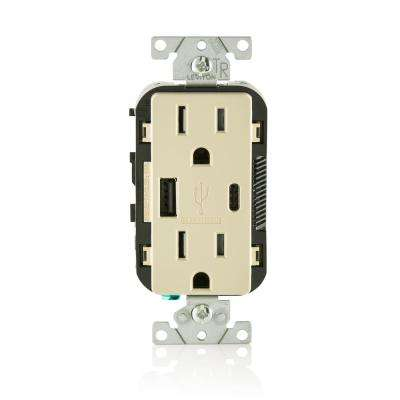 15 Amp Decora Type A and C USB Charger Tamper-Resistant Outlet, Ivory