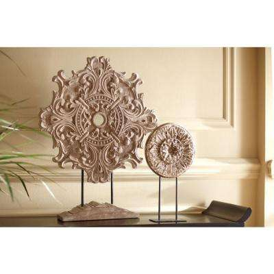 Raka 28 in. H x 22 in. W Natural Wood Carved Wood Panel with Stand