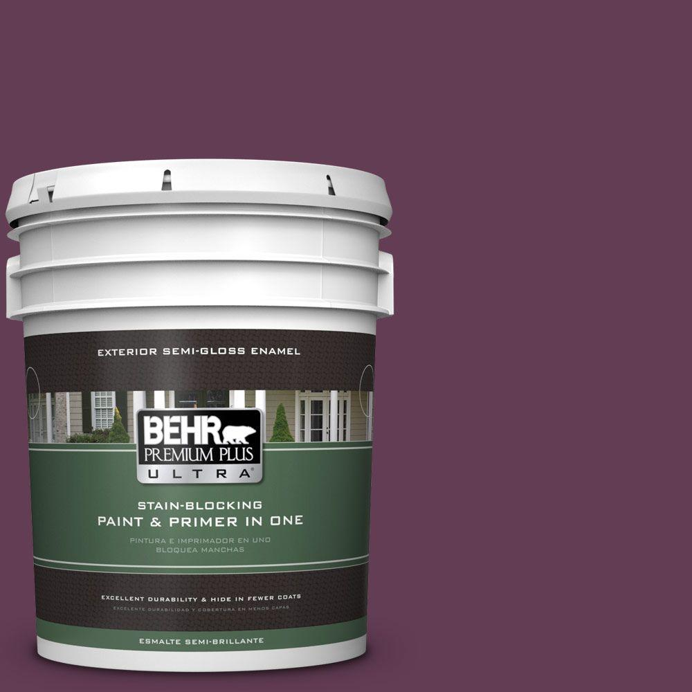 BEHR Premium Plus Ultra 5-gal. #S-G-690 Delicious Berry Semi-Gloss Enamel Exterior Paint