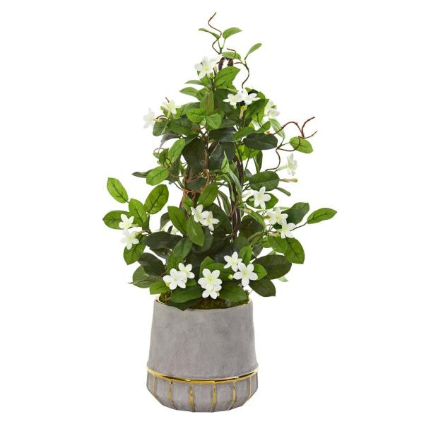 26 in. Stephanotis Artificial Plant in Stoneware Planter