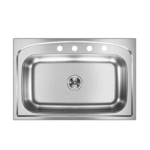 Elkay Pergola Drop-In Stainless Steel 33 inch 4-Hole Single Bowl Kitchen Sink by Elkay