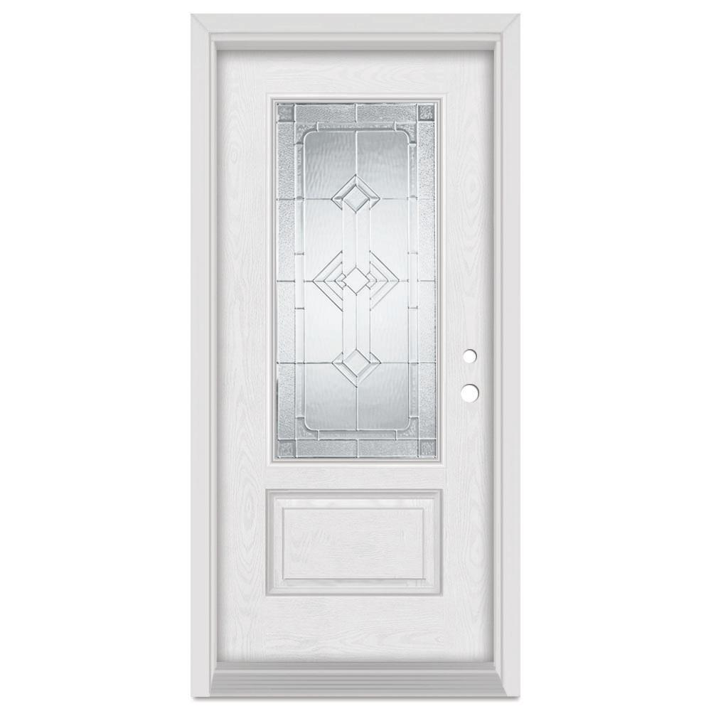 Stanley Doors 37.375 in. x 83 in. Neo-Deco Left-Hand 3/4 Lite Zinc Finished Fiberglass Oak Woodgrain Prehung Front Door Brickmould
