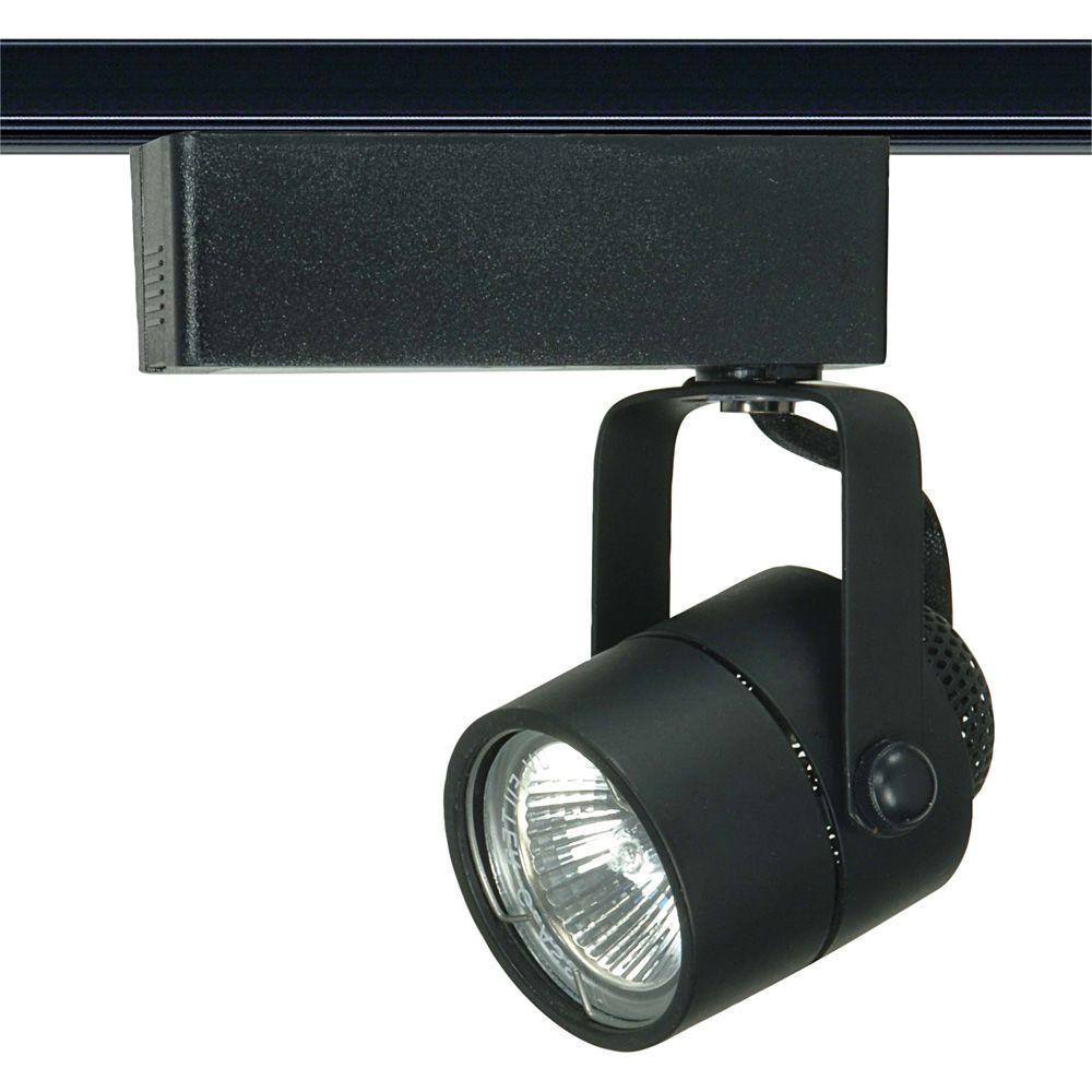1-Light MR16 12-Volt Black Track Lighting Head Round