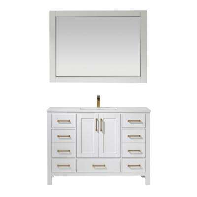 Shannon 48 in. Bath Vanity in White with Manufactured Stone Vanity Top in White with White Basin and Mirror