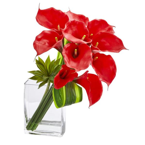 Nearly Natural 20 in. High Red Calla Lily and Succulent Bouquet