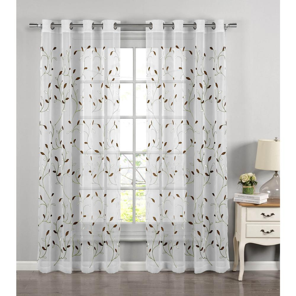 Window Elements Sheer Wavy Leaves Embroidered Sheer Sage