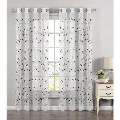 Sheer Wavy Leaves Embroidered Sheer Sage Grommet Extra Wide Curtain Panel, 54 in. W x 84 in. L
