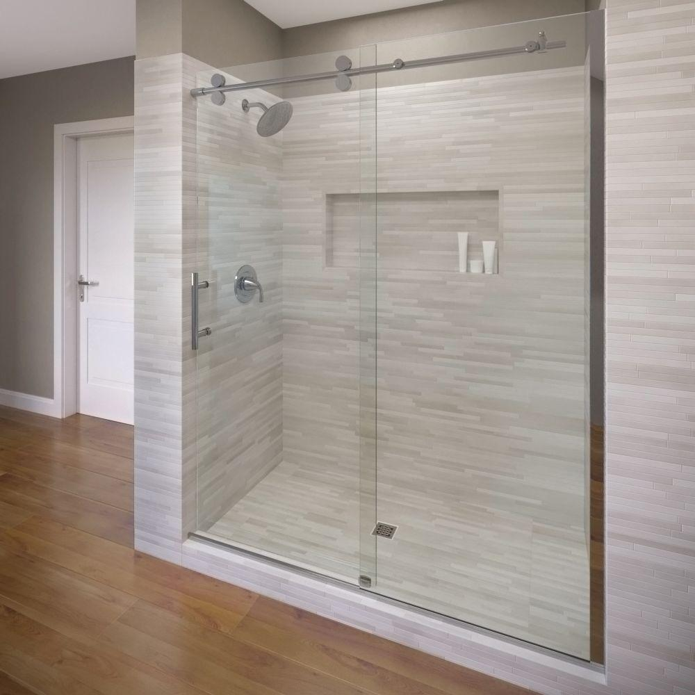 Basco Vinesse Lux 47 in. x 76 in. Semi-Frameless Sliding Shower Door and Fixed Panel in Chrome-VNXA-935-47XPPM - The Home Depot & Basco Vinesse Lux 47 in. x 76 in. Semi-Frameless Sliding Shower ... Pezcame.Com