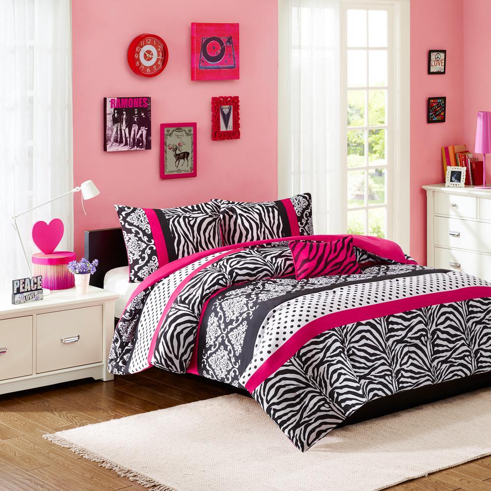 llama llama printed pink and grey twin xl comforter set cs2118txl 1500 the home depot. Black Bedroom Furniture Sets. Home Design Ideas