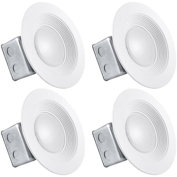 5 in Canless LED Light with J-Box 15-Watt 5000K Bright White Remodel Integrated LED Recessed Light Kit Dimmable (4-Pack)