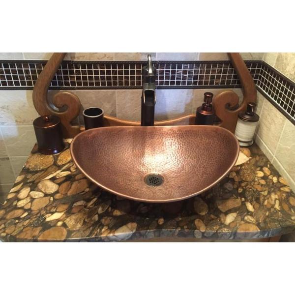 Sinkology Confucius 19 In Copper Vessel Sink Handmade Pure Copper Sink In Antique Copper Sb305 19ac The Home Depot