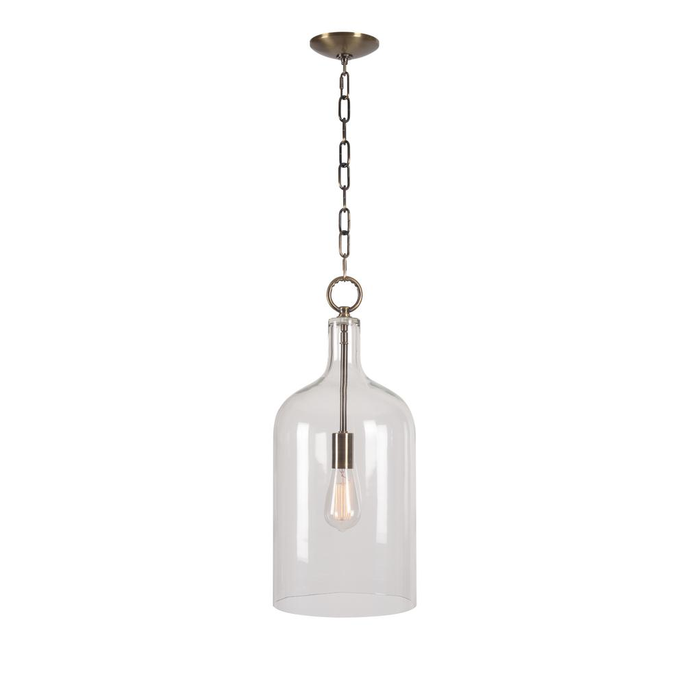 Kenroy Home Capri 1-Light Antique Brass Pendant with Clear Glass Shade