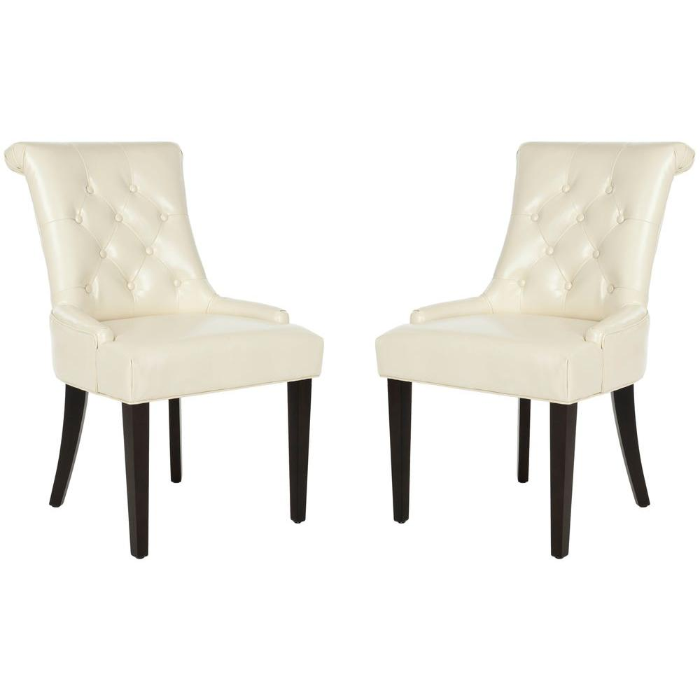 Bowie Cream/Espresso Bicast Leather Side Chair (Set of 2)