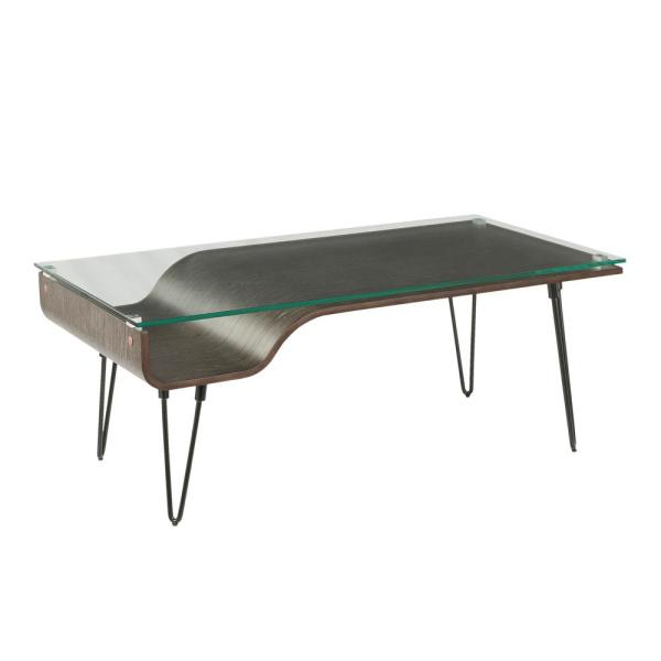 Avery Dark Grey Wood Coffee Table With Clear Glass Top