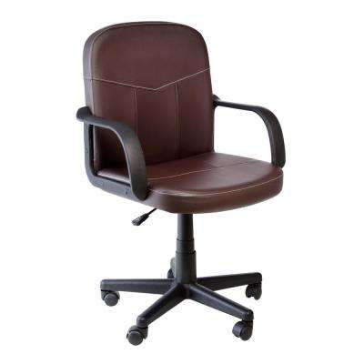 Brown Bonded Leather Mid-Back Chair