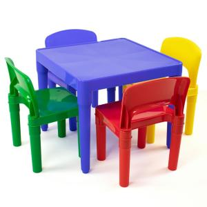 Playtime 5 Piece Primary Colors Kids Plastic Table And Chair Set
