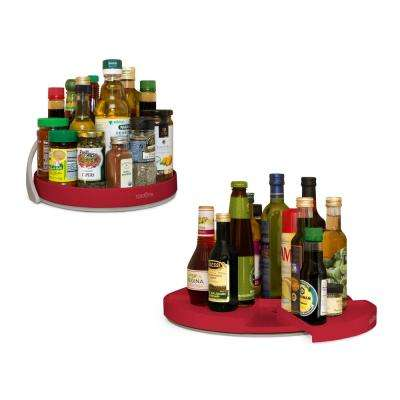 Crazy Susan 11 in. and 16 in. Red Turntable Set
